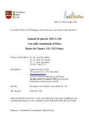Samedi 26 janvier 2013 à 13h A la salle communale d'Onex Route ...