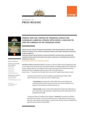 Press release - Palace of Versailles - Château de Versailles