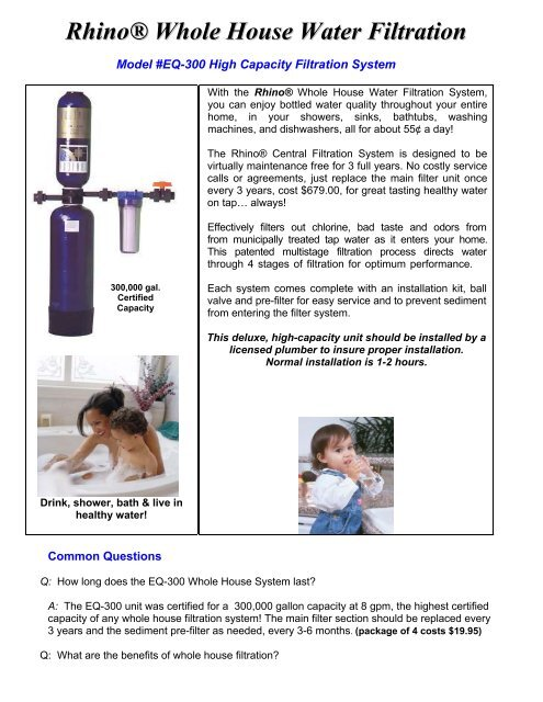 Rhino® Whole House Water Filtration - Filters Fast