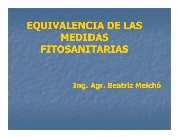 Beatriz Melchó. Equivalencia de las Medidas Fitosanitarias