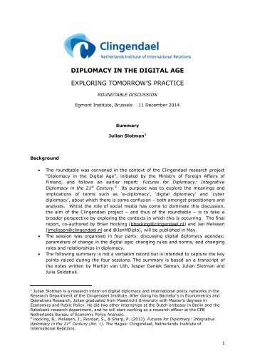 Summary digital diplomacy roundtable