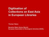 Digitisation of Collections on East Asia in European Libraries - EASL