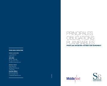 PRINCIPALES OBLIGATIONS PLANIFIABLES - Simon Associés