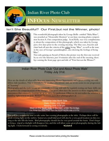 INFOCUS NEWSLETTER Indian River Photo Club