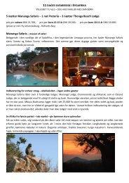 5 nætter Mananga Safaris – 1 nat Pretoria – 3 ... - African Adventure