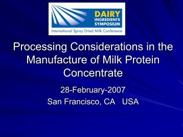 Process Considerations in the Manufacture of Milk Protein