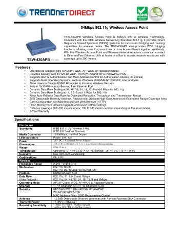 54Mbps 802.11g Wireless Access Point - Trendnetdirect.co.uk