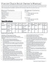 Pierce Chain Hoist Owner's Manual