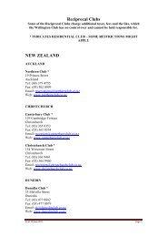 Reciprocal Clubs NEW ZEALAND - The Wellington Club