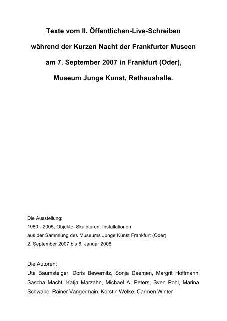 Texte fürs netz - Museum  Junge Kunst Frankfurt