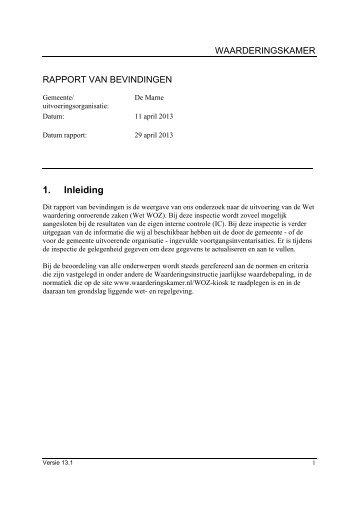 managementsamenvatting inspectie 11-4-2013 - Waarderingskamer
