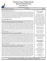High School Redistricting Fact Sheet #2 - Charles County Public ...