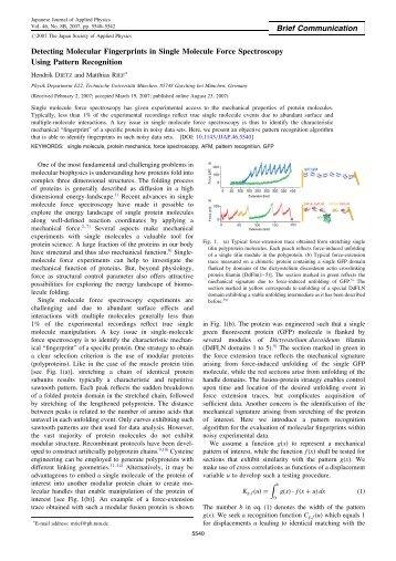 Detecting Molecular Fingerprints in Single Molecule Force ...