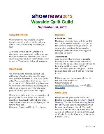 shownews2012 - Wayside Quilters Guild