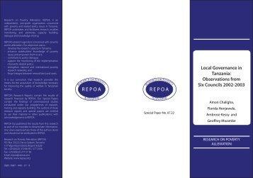 Local Governance in Tanzania - Repoa
