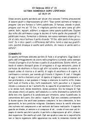 Ultima Domenica dopo l'Epifania lc 18,9-14 - San Pier Giuliano ...