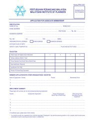 Associate Membership Form - Malaysian Institute of Planners