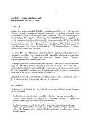Institut for Sygeplejevidenskab Status og plan for 2001 – 2005.