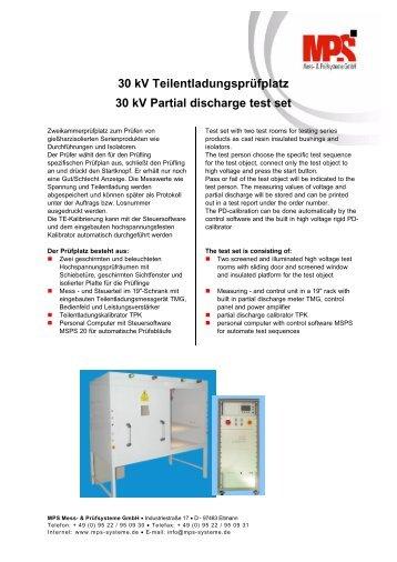 30 kV Teilentladungsprüfplatz 30 kV Partial discharge test set