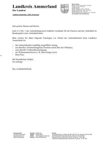 Antrag auf Verlängerung des Aufenthaltstitels - KDO-KIM