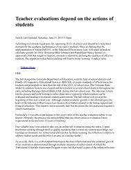 Teacher evaluations depend on the actions of ... - Communications