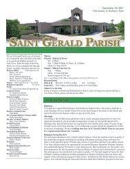 Weekly Bulletin - September 18, 2011 - Saint Gerald Catholic Church