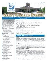Weekly Bulletin - April 7, 2013 - Saint Gerald Catholic Church
