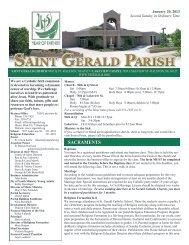 Weekly Bulletin - January 20, 2013 - Saint Gerald Catholic Church