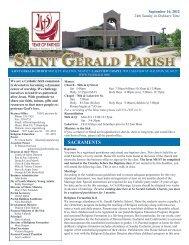 Weekly Bulletin - September 16, 2012 - Saint Gerald Catholic Church