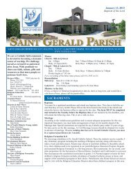 Weekly Bulletin - January 13, 2013 - Saint Gerald Catholic Church
