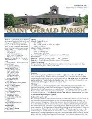 Weekly Bulletin - October 23, 2011 - Saint Gerald Catholic Church