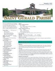 Weekly Bulletin - September 4, 2011 - Saint Gerald Catholic Church