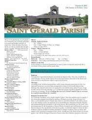 Weekly Bulletin - October 9, 2011 - Saint Gerald Catholic Church