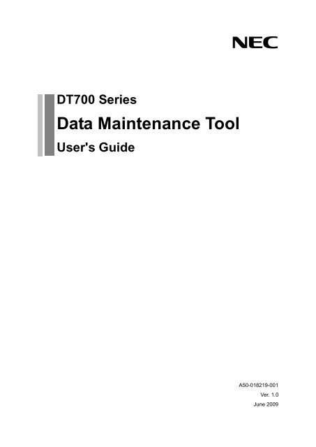 Data Maintenance Tool For DT700 Series NEC Corporation Of