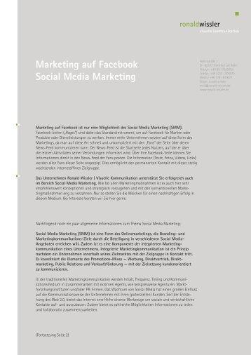 Info Marketing auf Facebook - ronald wissler | visuelle kommunikation