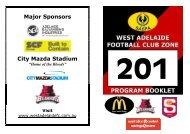 Major Sponsors City Mazda Stadium - West Adelaide Football Club