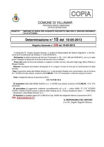Scarica la Determina Segreteria e Affari Generali n. 15/2013