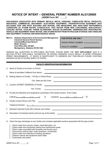 Draft Form 381 - Alabama Department of Environmental Management