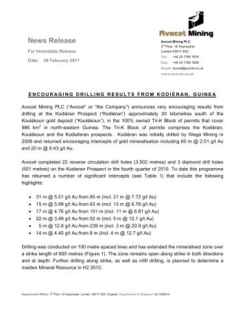 Drilling Results From Kodiéran, Guinea - Avocet Mining PLC