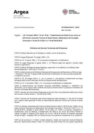 Determinazione del Direttore dell'Oristanese n°7 del 7 gennaio 2013