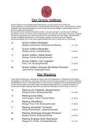 Weinkarte 2013 Weißweine