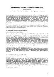 Psychosociale aspecten van genetisch onderzoek - UZ Leuven
