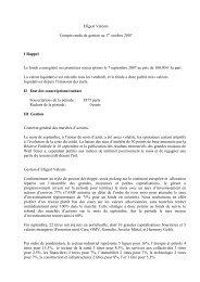 Efigest Valeurs rapport de gestion au 29 septembre 2007