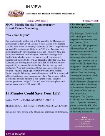 IN VIEW 15 Minutes Could Save Your Life! - City of Douglas Arizona