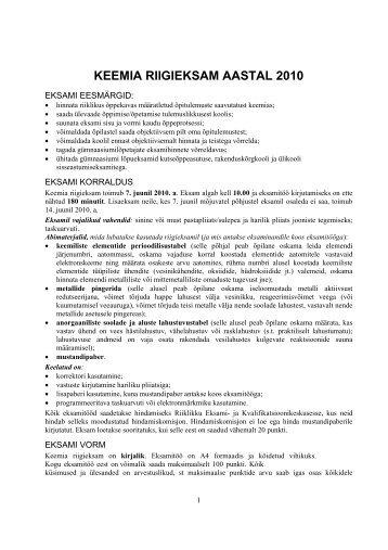 Keemia riigieksam 2010 - Riiklik Eksami ja Kvalifikatsioonikeskus