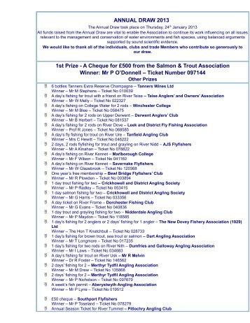 List of Prize Draw Winners 2013 - Salmon & Trout Association