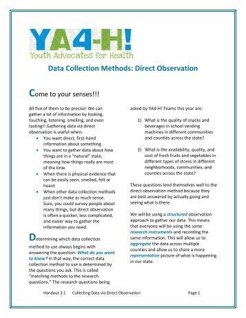 Data Collection Methods: Direct Observation - Oregon State 4-H ...
