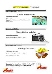Piscine de Bernissart Séance Cinéma au Préau Bricolage de Pâques