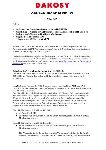 ZAPP-Rundbrief Nr. 31 - DAKOSY Datenkommunikationssystem AG