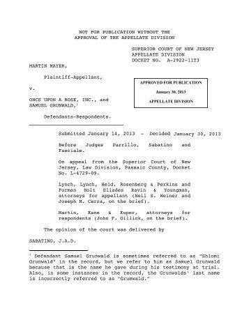 Mayer v. Once Upon a Rose, Inc. - Appellate Law NJ Blog